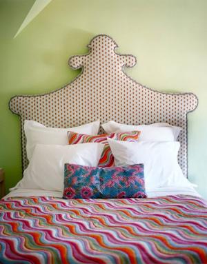 Hoofdboard bed van gordijnstof